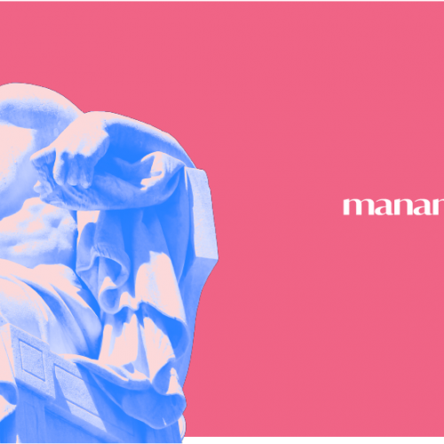 Socrates on manan pink background with logo